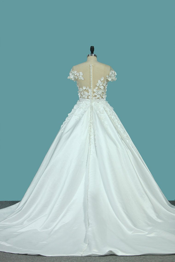 A Line Scoop Wedding Dresses Satin With Handmade Flower And Sash Chapel Train