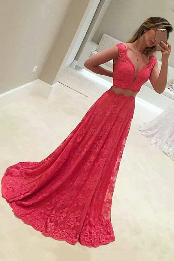 Lace Two-Piece A Line V Neck Prom Dresses Sweep Train