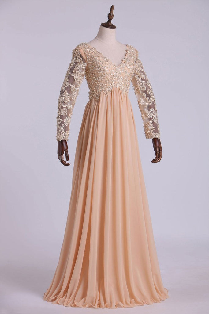Best Selling Prom Dresses Long Sleeves A Line V Neck Chiffon