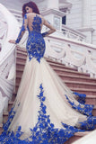 Prom Dresses Mermaid Scoop Long Sleeves Tulle With Applique