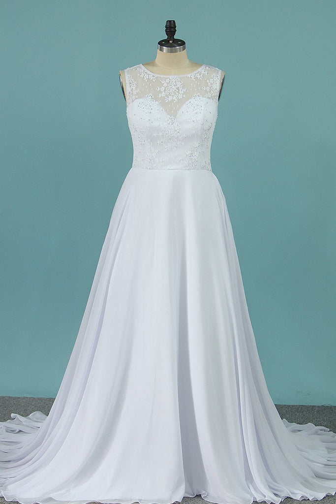 A Line Scoop Chiffon Wedding Dresses With Applique Sweep Train