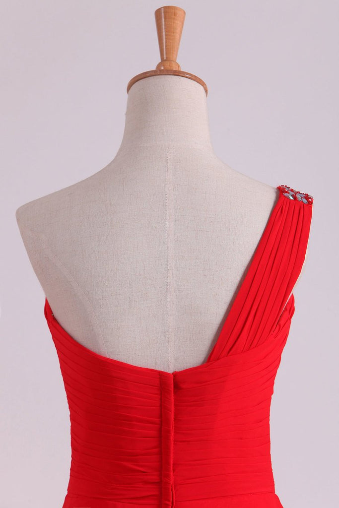 Red One Shoulder A Line Prom Dresses Chiffon Floor Length With Beading And Ruffles