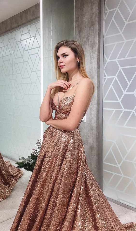 A Line Gold V Neck Sequin Long Prom Dress Long Cheap Evening Dresses JS849