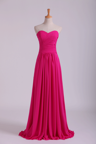2019 Sweetheart Bridesmaid Dresses A-Line Floor Length Chiffon Ruffle