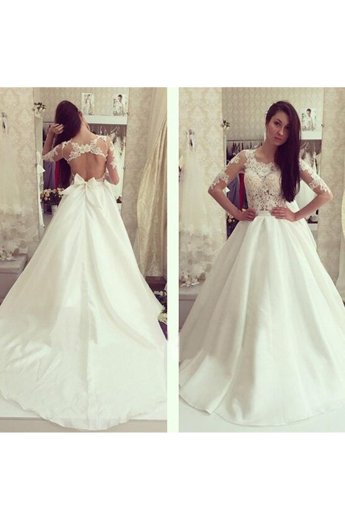 Scoop Mid-Length Sleeves Satin With Applique A Line Wedding Dresses