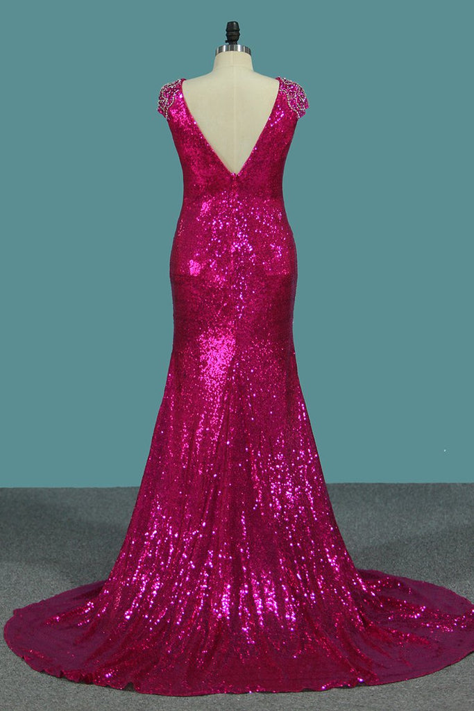 Sequins Mermaid Scoop Prom Dresses With Beading Sweep Train