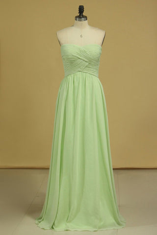 Sweetheart  Ruched Bodice Bridesmaid Dress A Line Floor Length Chiffon