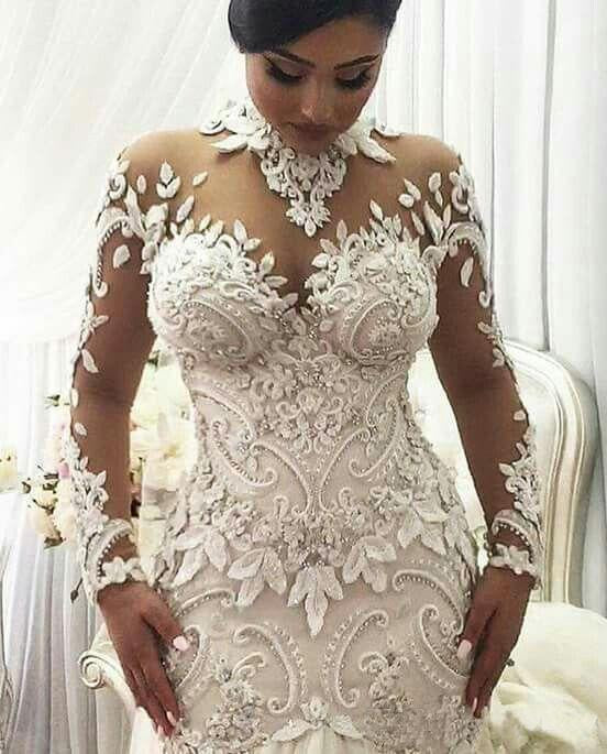 Luxury Crystal Beaded Appliques Mermaid High Neck Long Sleeves Wedding Gowns JS234