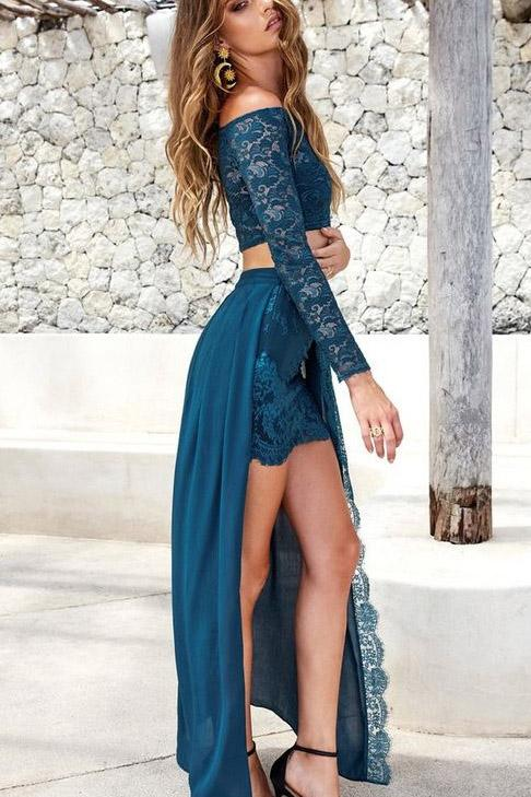 2019 Two Piece Lace and Chiffon Long Sleeves Lace Slit Off the Shoulder Prom Dresses JS401