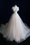 A-Line Off-the-Shoulder Tulle Sweetheart Lace up Ivory Bowknot Beach Wedding Dresses JS183