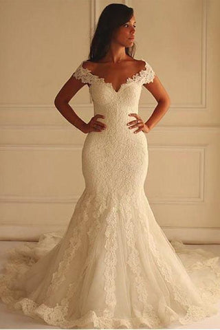 Off Shoulder Short Sleeves Mermaid Lace Wedding Dress with Appliques Bridal Dress JS750