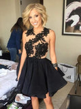 Black Short Appliques Sleeveless Backless Prom Dress Homecoming Dresses pst0967