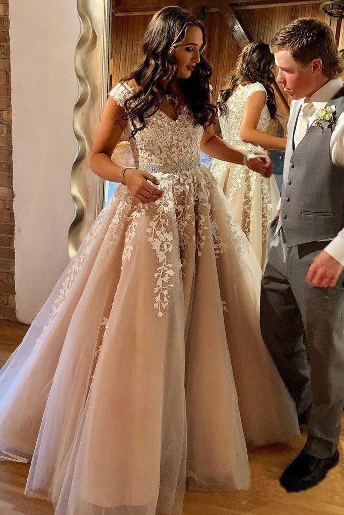 A Line Cheap Nude Quinceanera Dress Lace Appliques Cap Sleeve Beaded Prom Dresses JS238