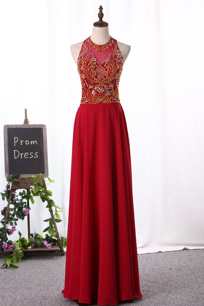 A Line Scoop Prom Dresses Chiffon With Beaded Bodice Floor Length