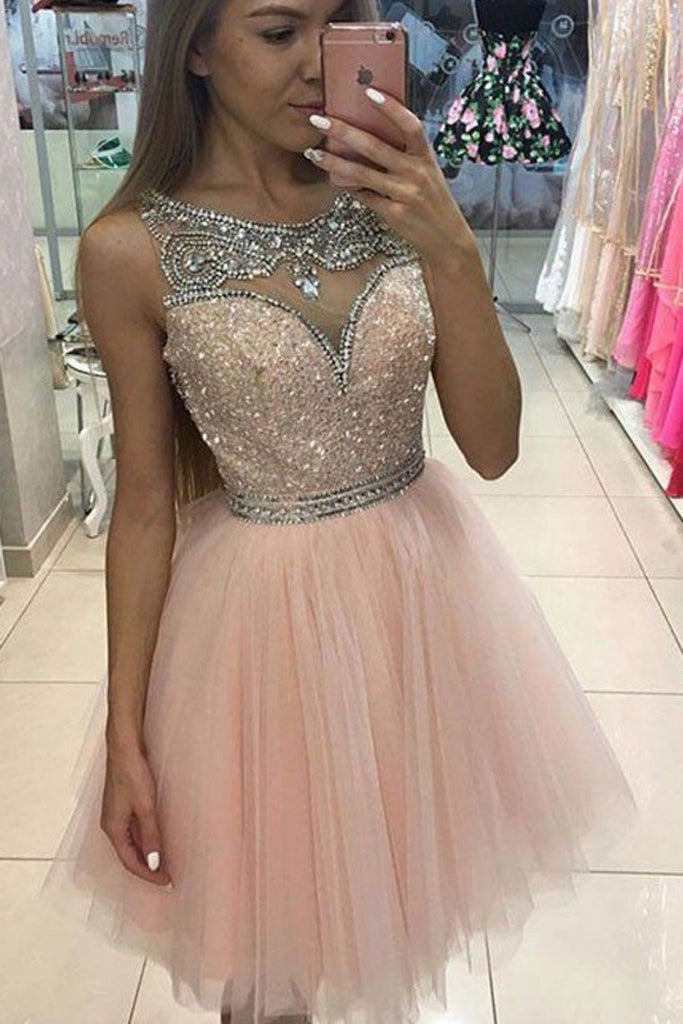Shining Homecoming Dresses Bateau A-Line Tulle With Beadings