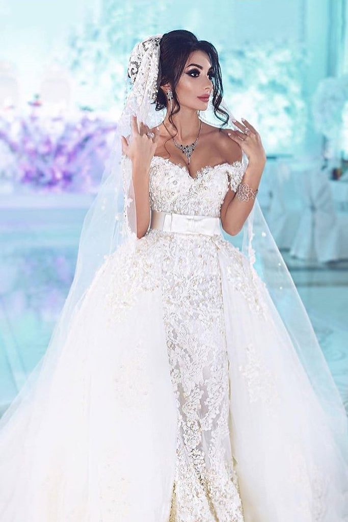 Off The Shoulder Wedding Dresses Sheath Tulle With Applique And Beads