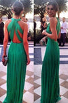 Sexy Open Back Scoop Chiffon With Ruffles A Line Prom Dresses