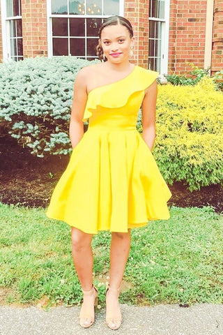 One Shoulder Homecoming Dress With Ruffles Satin