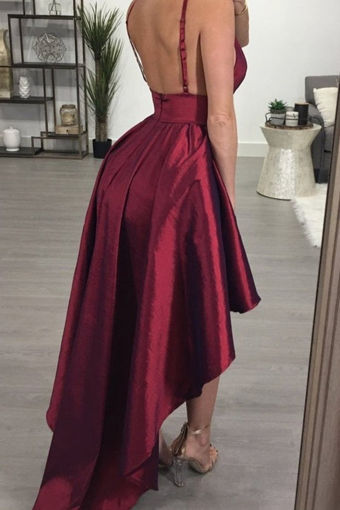 Burgundy Backless Hi-Lo Homecoming Party Dress, Asymmetrical Short Prom Dress