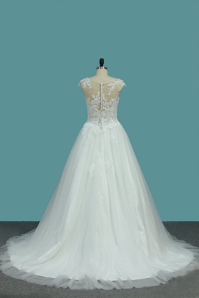 A Line Tulle Scoop Wedding Dresses With Applique Sweep Train