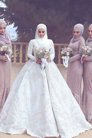 2019 New Arrival Satin Muslim Wedding Dresses High Neck Ball Gown