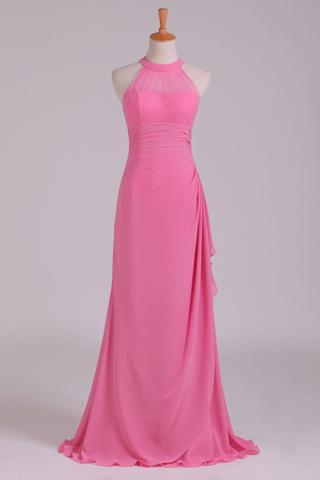 2019 Scoop Sheath Bridesmaid Dress Chiffon With Ruffles Floor Length