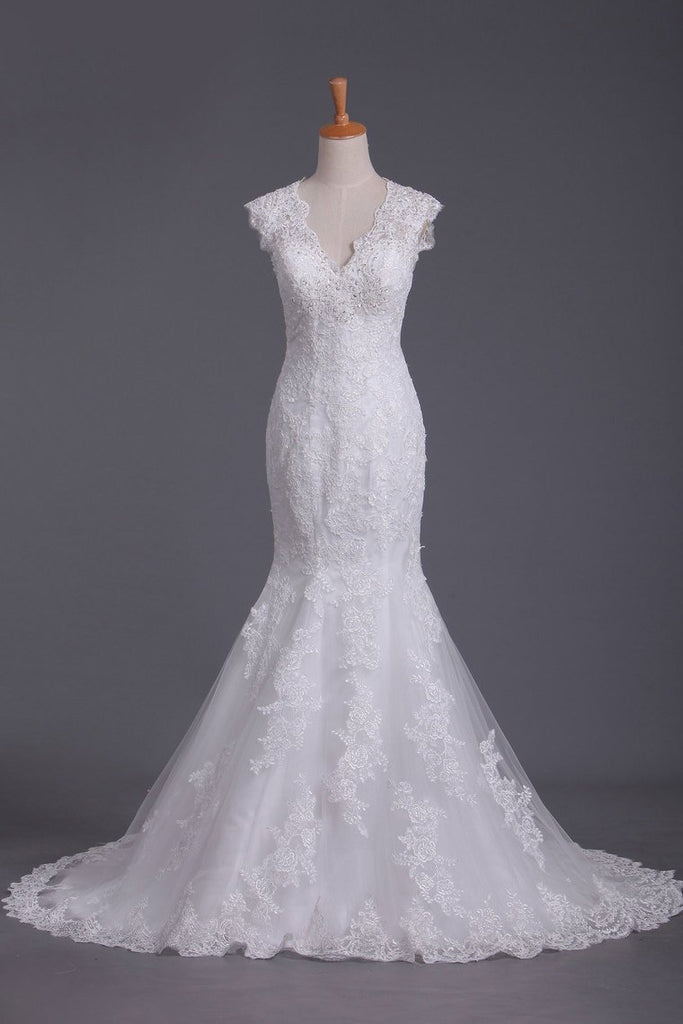 V Neck Wedding Dresses Mermaid/Trumpet Court Train Tulle