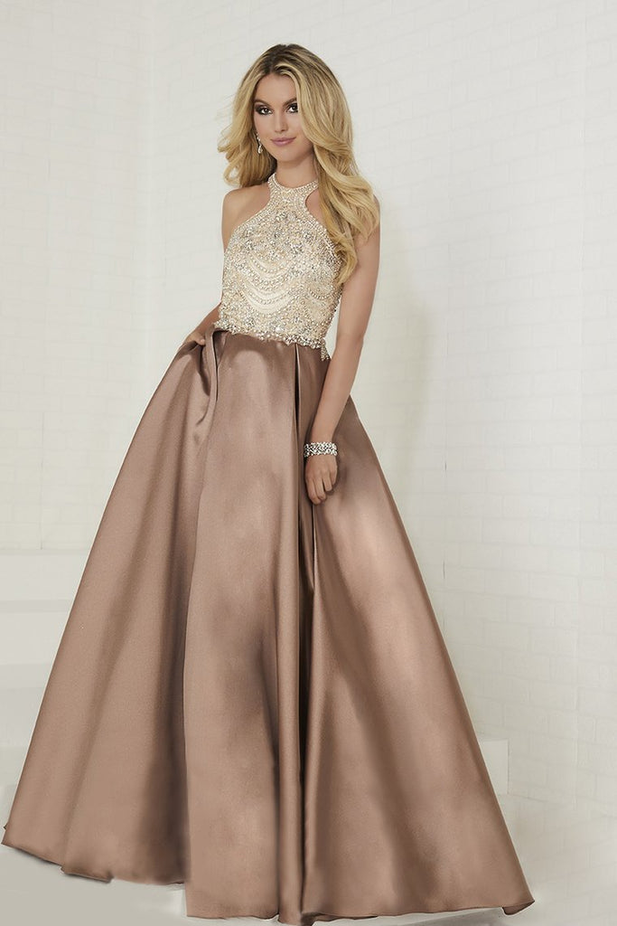 A Line Scoop Satin Prom Dresses With Beads Sweep Train