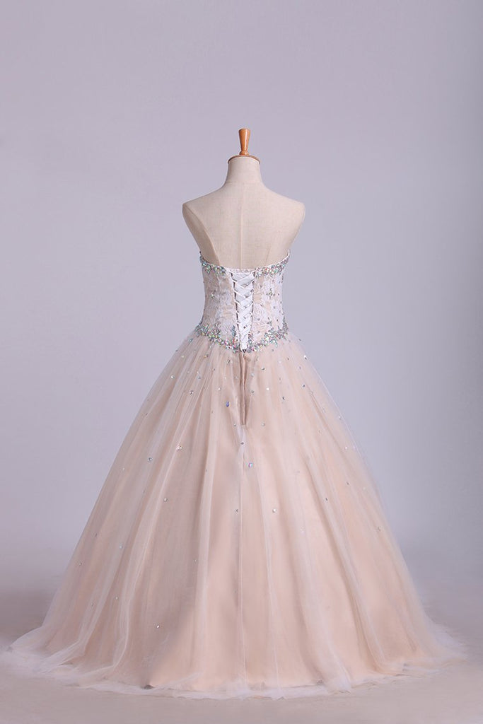 2019 Quinceanera Dresses Sweetheart Beaded Neckline And Waistline Ball Gown Floor-Length