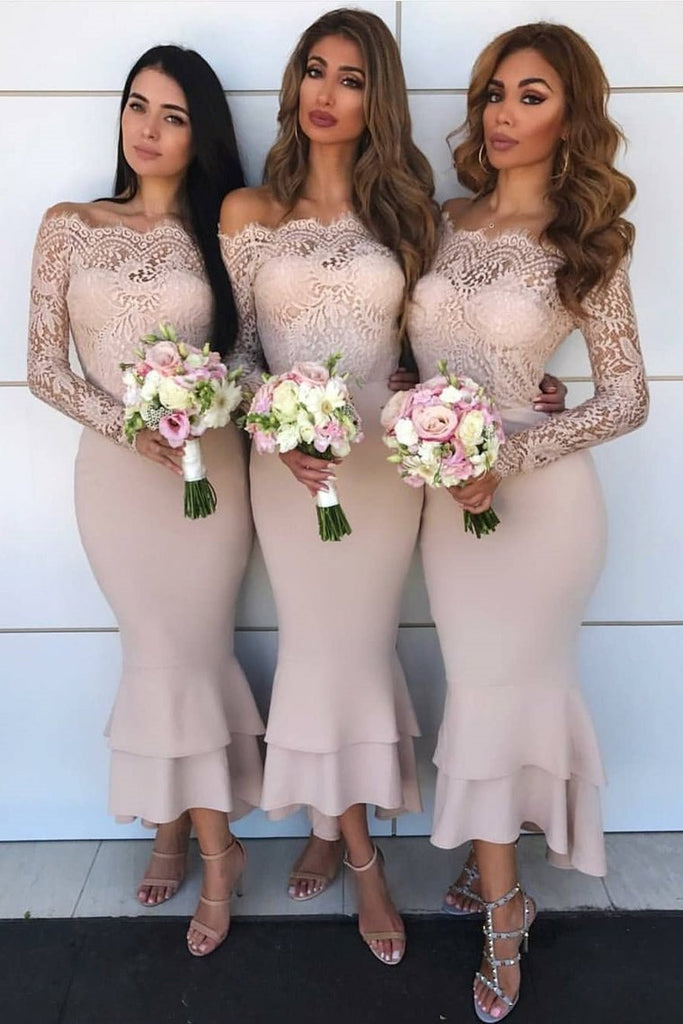 Long Sleeves Mermaid Sheath Lace Bridesmaid Dresses Elegant Wedding Party Dresses