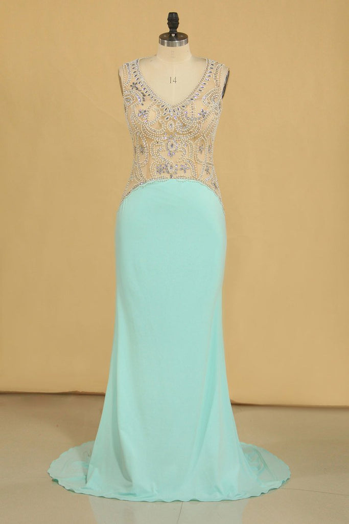 Spandex Prom Dresses V Neck Open Back With Beading Sweep Train