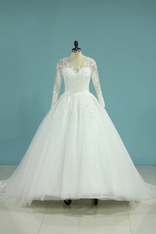 Wedding Dresses Scoop Long Sleeves A Line Tulle With Applique And Beads