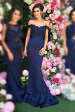 Satin Off The Shoulder Mermaid Bridesmaid Dresses Sweep Train