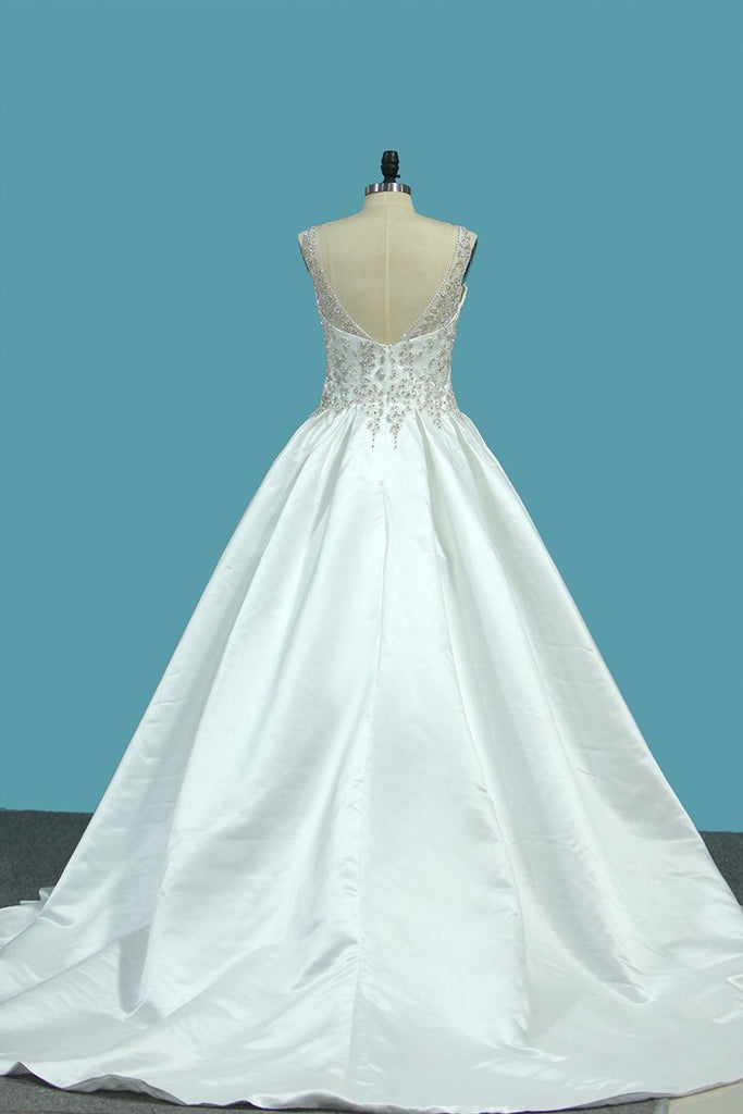 A Line Wedding Dresses Satin V Neck With Beading Sweep Train