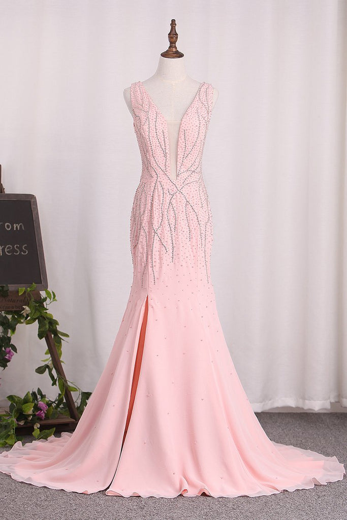 Open Back V-Neck Mermaid Chiffon With Beads And Slit Prom Dresses
