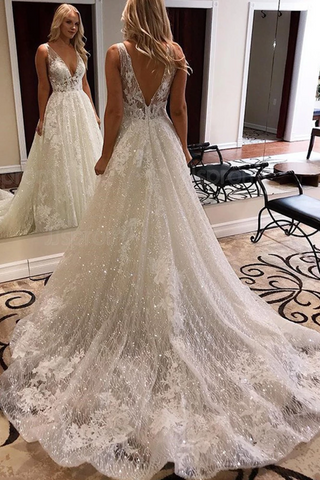 Luxurious Ball Gown V Neck Open Back Ivory Lace Wedding Dresses,Sequins Beach Bridal Dresses