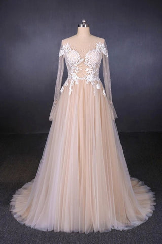 Sexy Sheer Neck Long Sleeves Tulle Wedding Dress, Charming Tulle Bridal Dress With Appliques