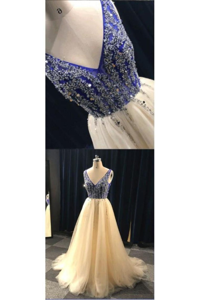 Champagne And Blue Long V-Neck Beading Backless Prom Dresses