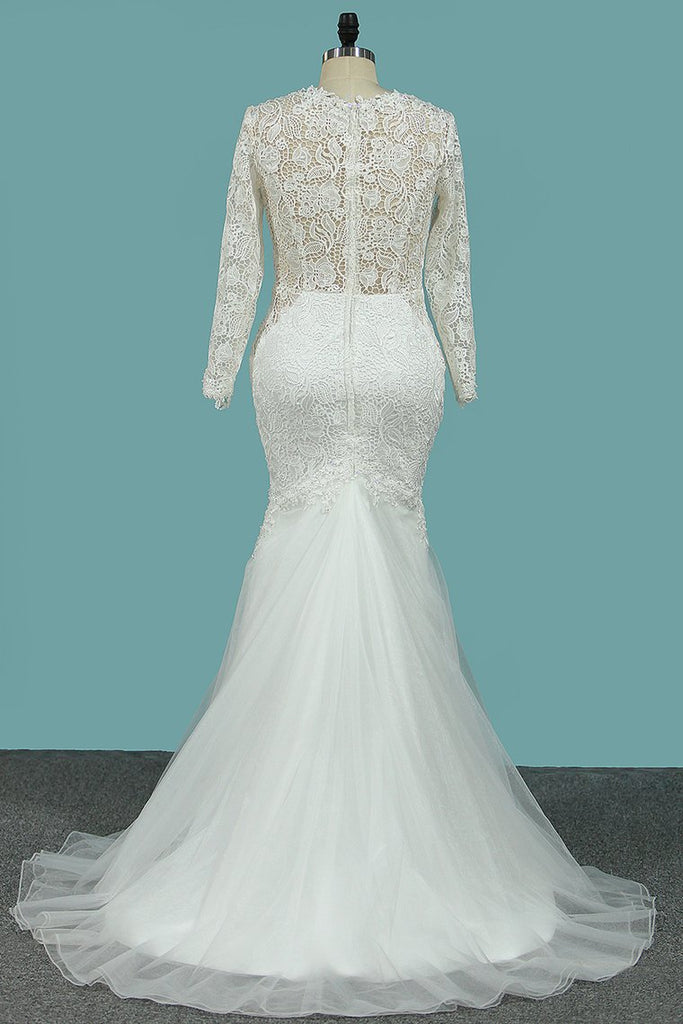 Scoop Long Sleeves Sheath Wedding Dresses Tulle & Lace With Applique Sweep Train