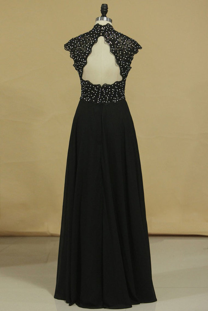 Black High Neck Prom Dresses A Line Chiffon With Applique And Beads