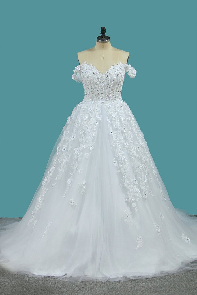 Tulle A Line Off The Shoulder With Applique And Beads Court Train Wedding Dresses