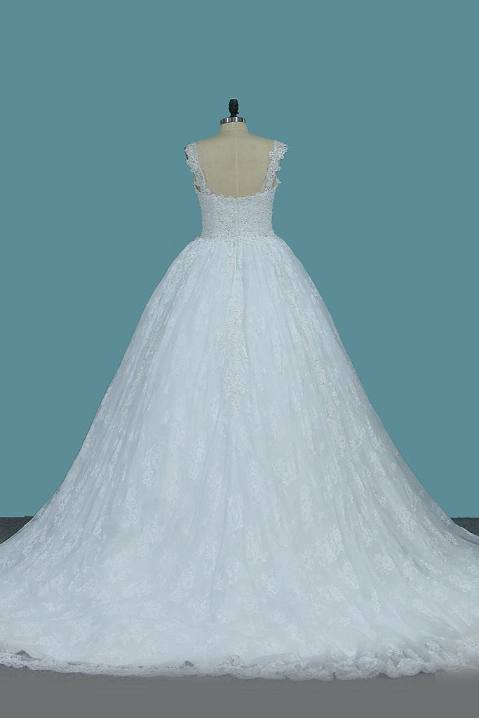Straps Tulle Ball Gown Wedding Dresses With Applique Chapel Train