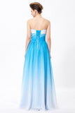 Ombre Spaghetti Straps A-Line Chiffon Blue Lace up Sweetheart White Prom Dresses UK JS360