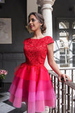 Red Lace Appliques Top Cap Sleeves Multi Colors Tulle Short Homecoming Dresses JS645