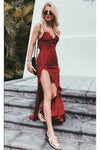 Charming Burgundy Lace Spaghetti Straps Long V-Neck Prom Dresses UK With Sexy Slit JS375