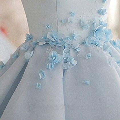 Sky Blue A-line Scoop Neck Satin Tulle Short Flowers Original Mini Dress Homecoming Dress