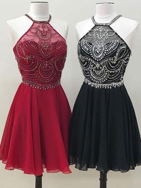 Cute A Line Halter Beaded Short Burgundy Homecoming Dresses Backless Black Hoco Dress JS731