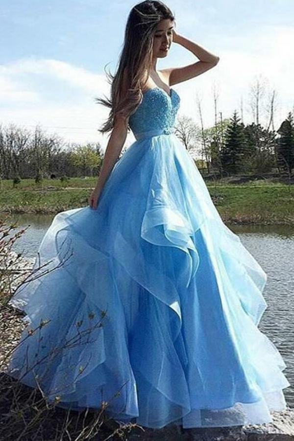 A-Line Sweetheart Strapless Blue Tulle Beads Sleeveless Ruffles Prom Dresses JS820