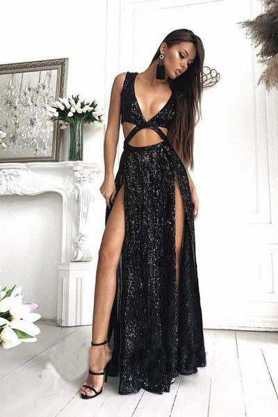 Charming Sexy Sequin Sparkly Simple Rose Gold and Black Split Fashion Prom Dresses JS452