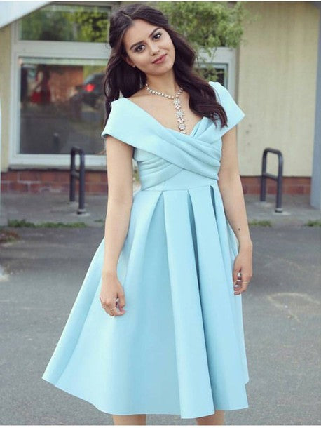 A Line Off the Shoulder Short Prom Dresses V Neck Homecoming Dresses